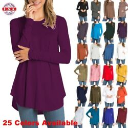 USA Womens Round Neck Long Sleeve Rounded Hem Layering Tunic Top Casual Solid $12.95