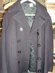 Vintage US Navy Peacoat Winter Wool Jacket King O Wear Private Purchase Pea Coat