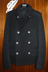 Balmain Olivier Rousteing 13 AW Men Wool Black Pea Coat Homme 46 Used no tag