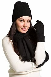 Fishers Finery 100% Pure Cashmere Hat Gloves Scarf Gift Set with Gift Box -