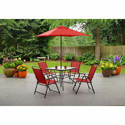 Outdoor Patio Furniture Dining Set Folding Table Chairs Umbrella Yard 6 Pc Red
