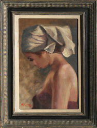 Philippe Alfieri Young Woman with White Head Scarf Oil Painting