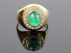 Vintage c1960s 3.62CT Natural Emerald Cabochon and Diamond 18K Gold Ring 8.7g