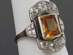 Art Deco 3.2CT Natural Orange Sapphire & 1.5CT Diamond 9K Gold Ring 4.6g sz5.25
