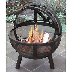 Portable Steel Round Wood Fire Pit Bowl Outdoor Chimney Patio Ball Fireplace