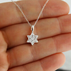CZ Star of David Necklace 925 Sterling Silver Pendant Jewish Symbol Gift NEW $20.00
