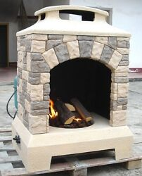 New 2016 Tuscan Stone Style Outdoor Backyard Fireplace Gas Fire Pit w Fire Logs