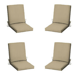 Patio Cushion Set Garden Outdoor Dining Chair Replacement Furniture Tan 4 Pack
