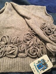 NwT portolano cashmere scarf Gray WCashmere Flowers Long Wide Matching Gloves