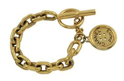 CHANEL Auth Bracelet Ladies Gold Chain Plated Button Free Ship Excellent #0230