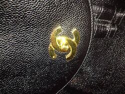 CHANEL RUNWAY CC LOGO AUTH#&CARD GOLD CHAIN CAVIAR LTHER JUMBO BACKPACK BAG Vint