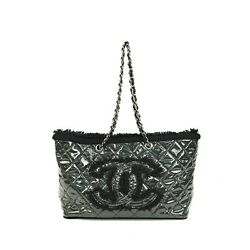 Auth CHANEL Bag Patent Toile Quilting Chain Shoulder Vinyl Black A47155 Used  AB