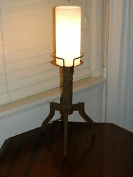 Vintage Rustic Primitive Western Spanish Mexican Wood Cabin Candle Table Lamp