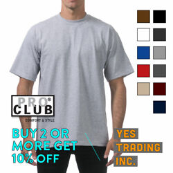 PROCLUB PRO CLUB MENS PLAIN T SHIRT HEAVYWEIGHT SHIRTS SHORT SLEEVE TEE BIG TALL $13.40