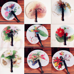 Chinese Paper Folding Hand Fan Oriental Floral Fancy Party Wedding Favors Gifts $5.89