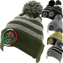 MEXICO Eagle BEANIE Knit Pom Cuffed Headwear Winter Ski Snowboard Hat Cap