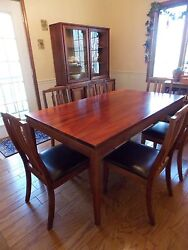 Koa wood Entertainment Center Dining Room table & 6 Chairs Hutch  Bookcase