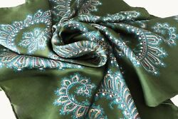 "Vintage JACQMAR Green Paisley Pure Silk Scarf 29"" Square"