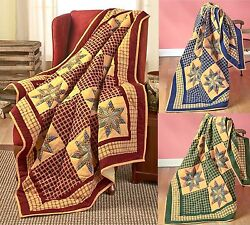 50 x 60 Quilted Patchwork Look Throw Country Log Cabin Farmhouse Blanket Home