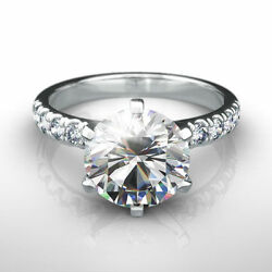3 12 CARAT DIAMOND RING ROUND F SI1 SOLITAIRE ACCENTED 14 K WHITE GOLD 6 PRONG