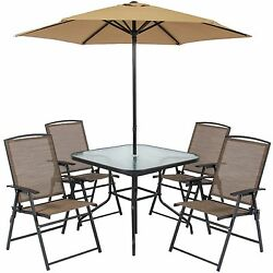 Outdoor Patio Table Chairs Dining Set Folding Umbrella Garden Yard Furniture Set