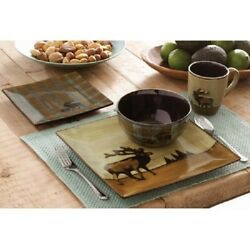 Country Cottage Dinnerware Rustic Cabin Set for 4 Plates Mugs Bowls Salad Dining