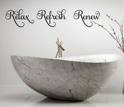 RELAX REFRESH RENEW VINYL WALL DECAL LETTERING BATH LETTERING WORDS DECOR $8.95