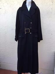 CHANEL 95A RARE MILITARY STYLE 100% CASHMERE BLACK LONG COAT CC BUTTONS SZ 38