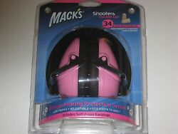 Mack's Shooters Double-up Earmuffs Hearing Protection System Earplugs Range Pink