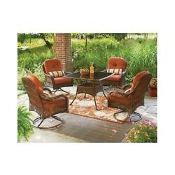 5pc Patio Set Cushioned Outdoor Dining Deck Patio Furniture Table And 4 Chairs