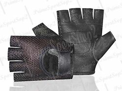 Leather Mesh Fingerless Menquot;s Weight Lifting Exercis Gym Wheelchair Black Glove $7.99