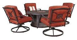 Traditional Brown 5pc Outdoor Dining Set Orange Cushion Swivel Chairs Ashley