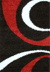 OHAR SWIRLS DESIGN BLACK RED NON-SHED SHAGGY FLOOR RUG 80x150cm **NEW**