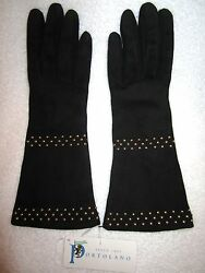 New! Portolano Black Suede Leather Gloves Gold Rivets 100% Cashmere Lining 6.5