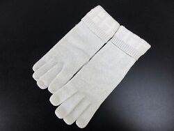 Auth Mint HERMES Gloves 100% Cashmere Polyester Nylon White With Box 34306 B