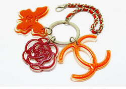 CHANEL Auth Bag Charm Key Holder Clear Orange Red Butterfly FS Excellent #0098