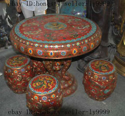 old chinese bronze Cloisonne 9 dragon elephant royal Dining table 4 chair Stools