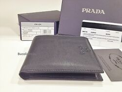 Men's 'PRADA' 2M0738 Nero-Italian Deerskin Leather Wallet with Coin compartment