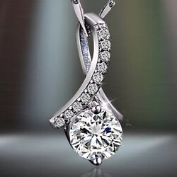 Fashion 925 Sterling Silver White Crystal Pendant Necklace Chain Womens Jewelry