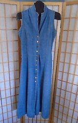 County Seat Nuovo Denim Jean Jumper Button Front Lace up Back Dress Sz Medium