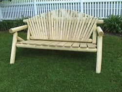 Rustic Outdoor White Cedar Log Adirondack Park Bench - Amish Made in the USA