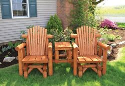Rustic Stained White Cedar Log Adirondack Gliding Settee with Center Table