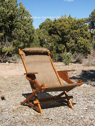 Folding Wood Sling Chair Outdoor Patio Deck Camping -