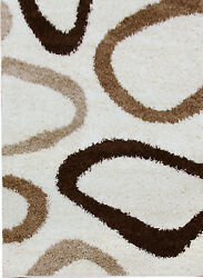 OHAR HOOPS DESIGN CREAM BEIGE BROWN NON-SHED SHAGGY FLOOR RUG 80x150cm **NEW**