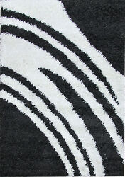 OHAR WAVES DESIGN CHARCOAL BLACK NON-SHED SHAGGY FLOOR RUG 80x150cm **NEW**