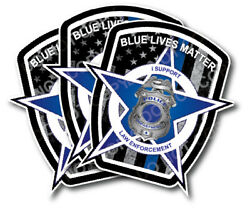 Blue Lives Matter American Flag Police Car Truck Decal Sticker Thin Blue Line