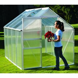 Green House 6' x 8'UV-coated polycarbonate panels Aluminum structure
