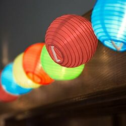 24 Multi Color Mini Nylon String Patio Lights - Extra Long Extendable Indoor -