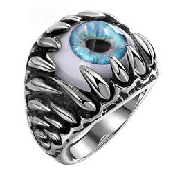 Men's Retro Punk Biker Stainless Steel Black Silver Blue Eyeball Evil Eye Rings