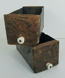 Rustic Decor Country 2 Wood Metal Drawers Rust Primitive Decorative Collectibles